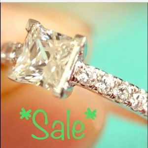 Jewelry - 💯% REAL WHITE SAPPHIRE PRINCESS RING N 925 SILVER
